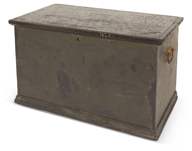 Antique American Black Blanket Chest