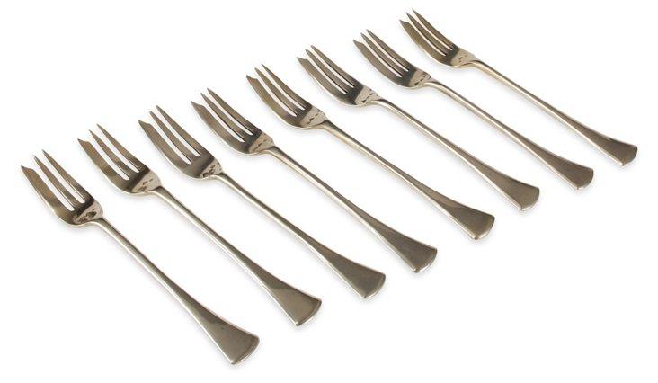 German Silver Shrimp Forks, Set of 8