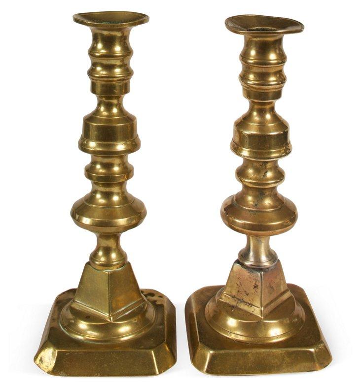 Victorian Brass Candlesticks, Pair