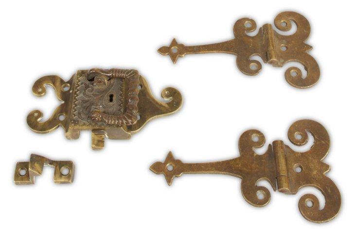 Antique Lock w/ Matching Hinges, 4 Pcs