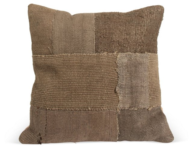 Dark-Brown Woven Patchwork Pillow