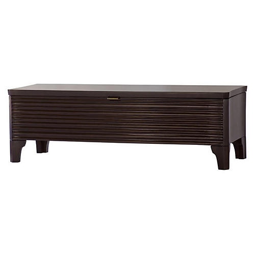 "Theodore 50"" Carved Storage Bench, Brown"