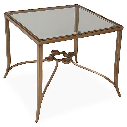 Dursley Glass End Table, Brass