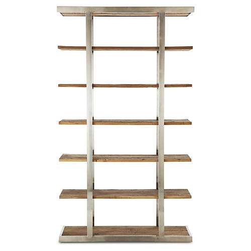 Taylor Elm Tall Bookcase, Natural/Silver
