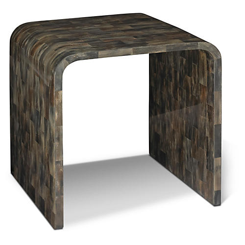 Hobbes Horn Side Table, Gray/Brown
