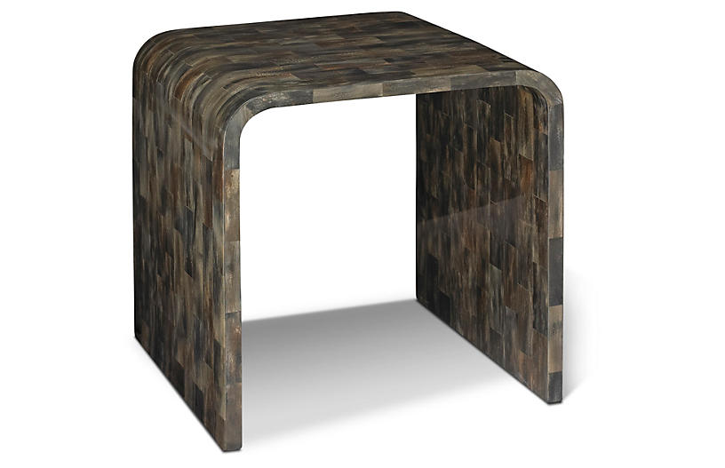 Hayden Horn Side Table, Gray/Brown