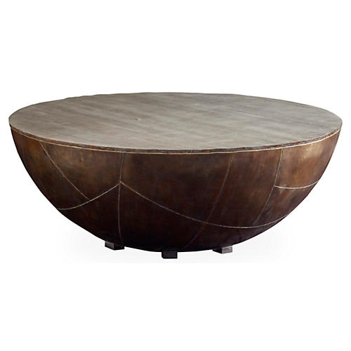 Kieran Drum Coffee Table, Antiqued Brass