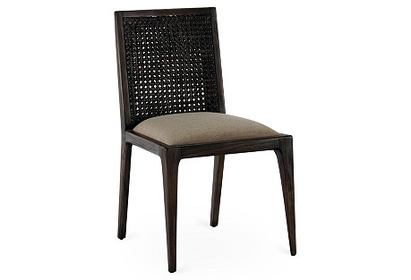 Caroline Rattan Side Chair, Smokey Brown*
