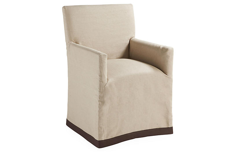 Marcel Slipcovered Armchair, Khaki