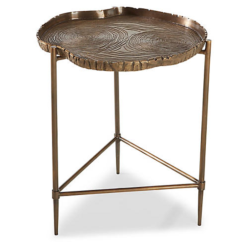 Toulouse Tree Side Table, Antiqued Brass