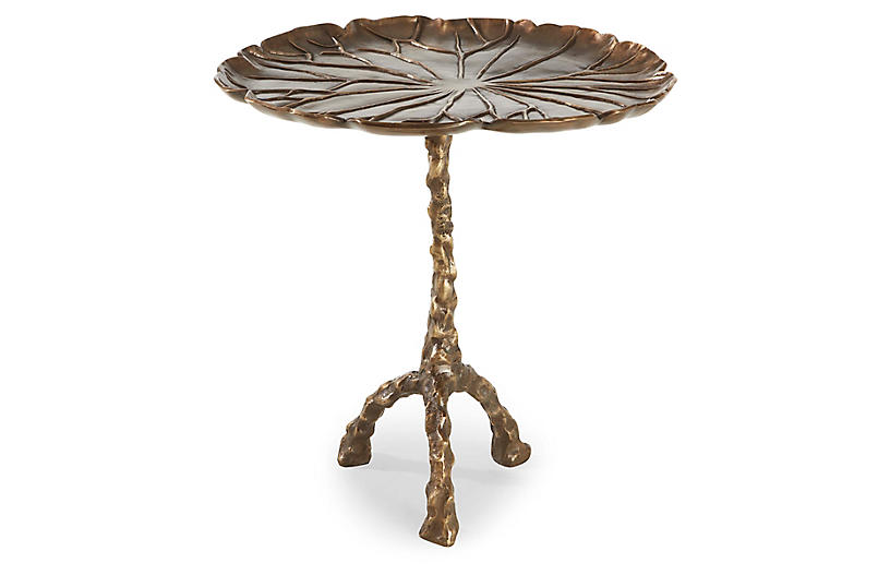 Toulouse Leaf Side Table, Antiqued Brass