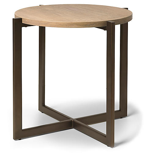 Larkspur Side Table, Beach/Gunmetal