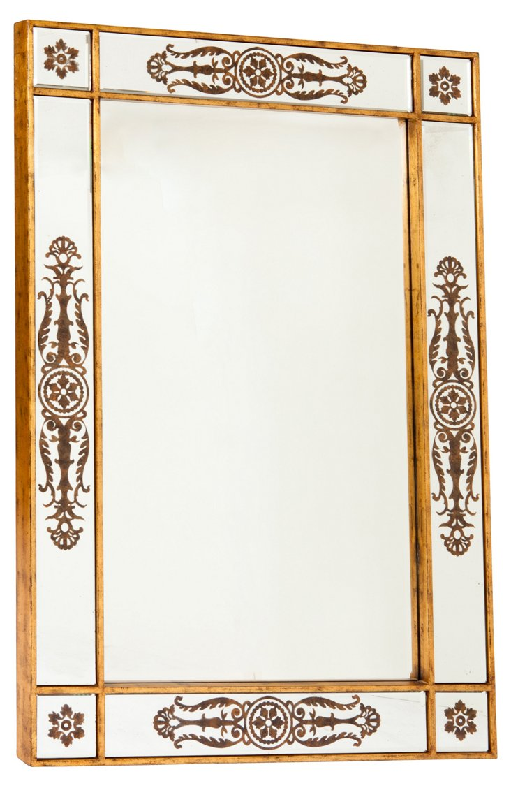 Large Mirror w/ Etched Design
