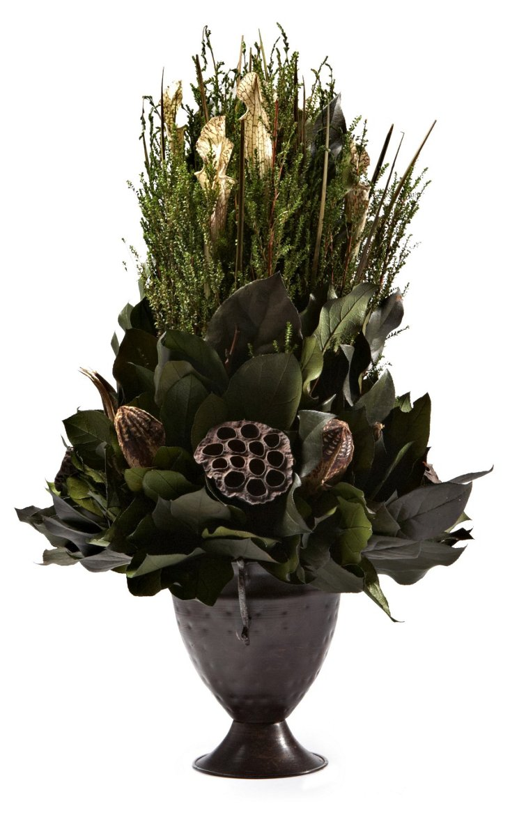 Forest Tea & Pods in Trophy Vase, Dried