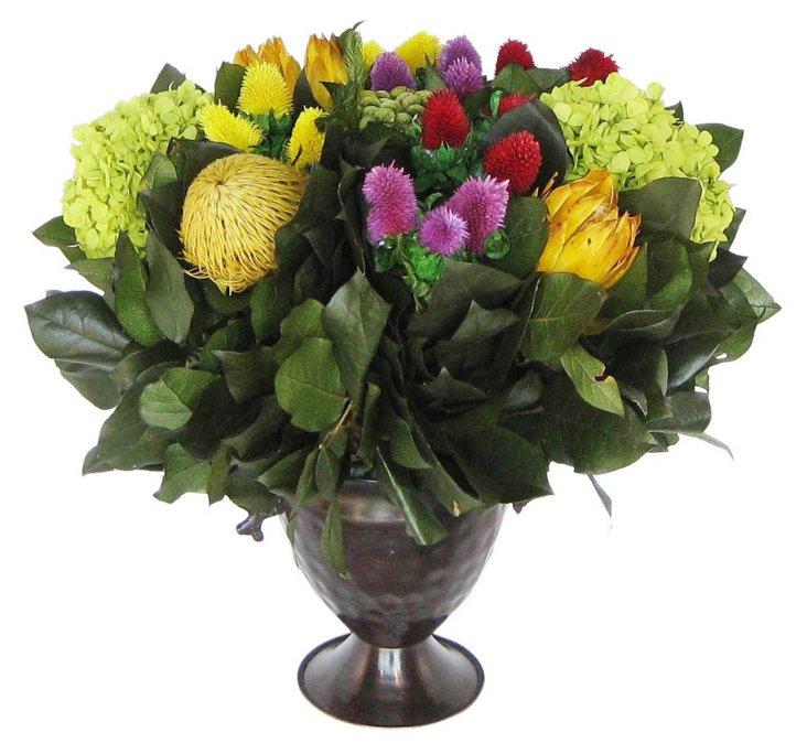 """16"""" Clover & Protea in Vase, Preserved"""