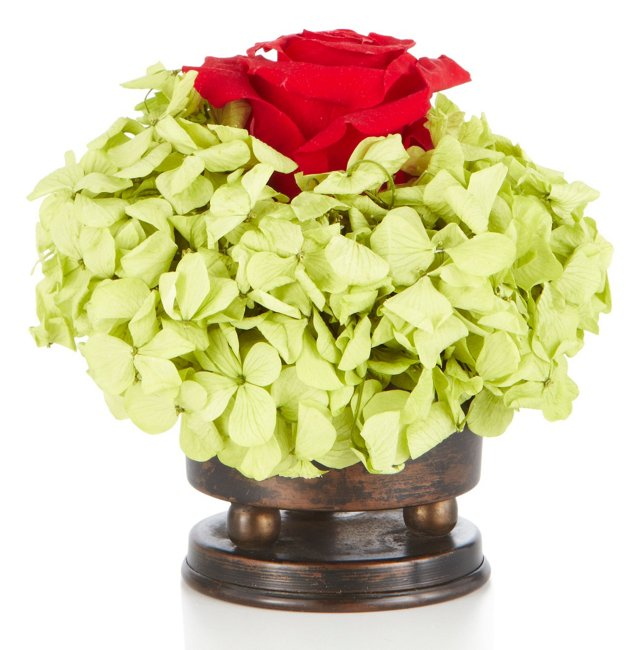Rose & Hydrangea Basil in Holder, Red