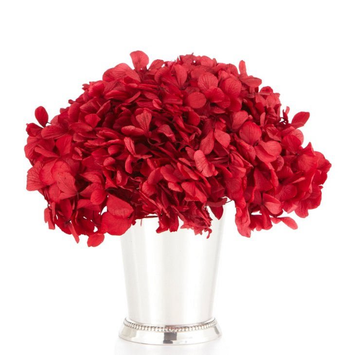 Red Hydrangea in Julep Cup, Silver