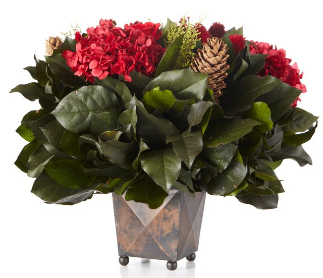 Red Arrangement in Container, Copper