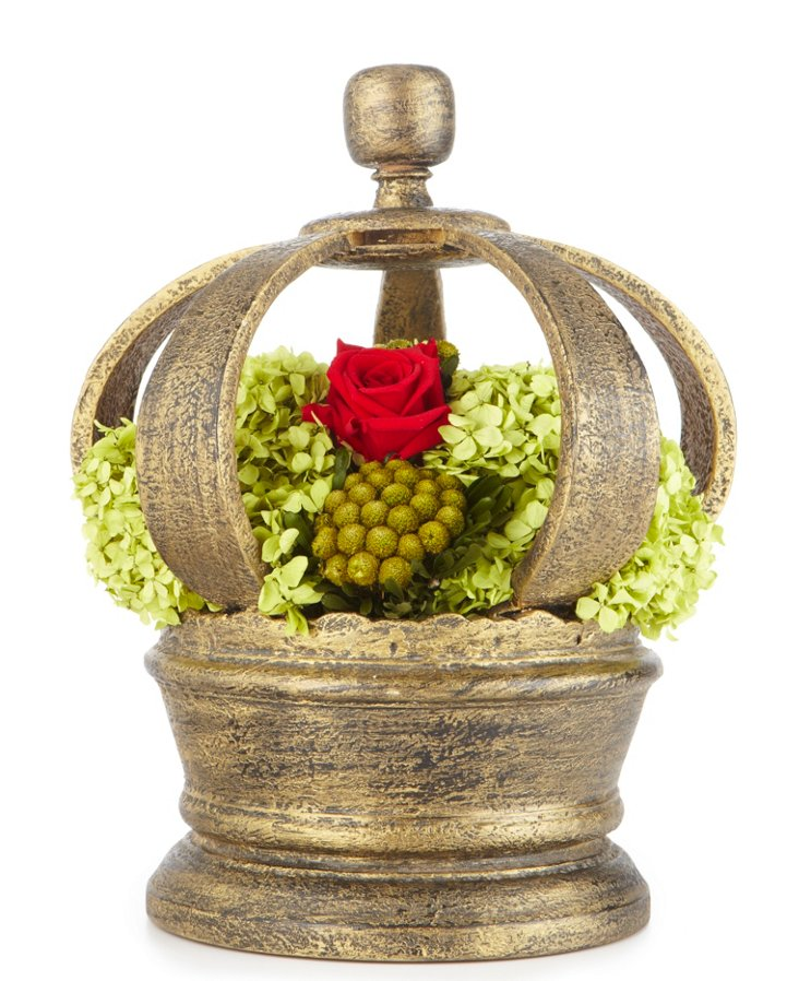 Red Roses & Yellow Brunia in Crown
