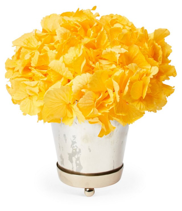 """7"""" Hydrangea in Julep Cup Glass, Yellow"""