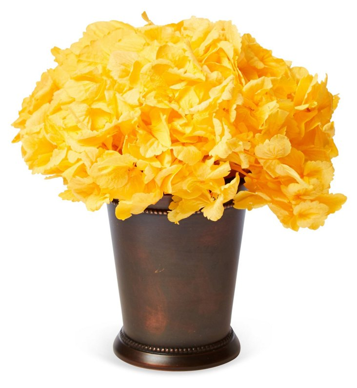 Hydrangea in Copper Julep Cup, Yellow