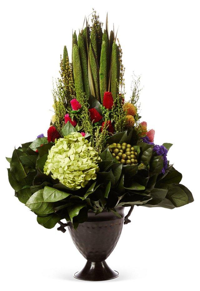 Pensularia & Hydrangea in Trophy Vase
