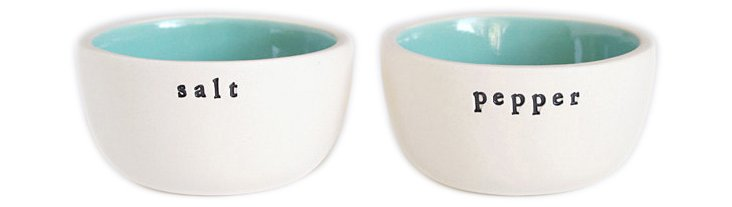 Salt and Pepper Bowls, Turquoise