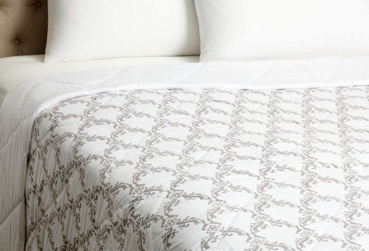 Floral Jaali Quilt, Taupe