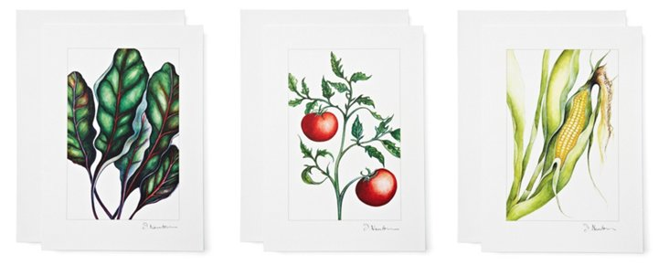 S/6 Note Cards, Vegetable Stand