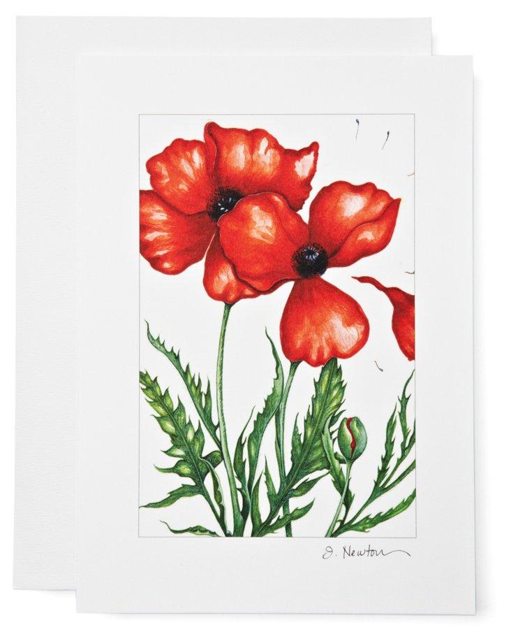 S/12 Note Cards, Oriental Poppy
