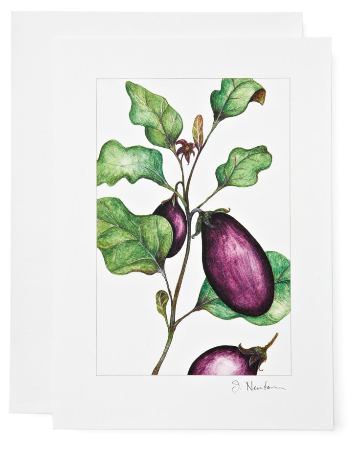 S/12 Note Cards, Eggplants