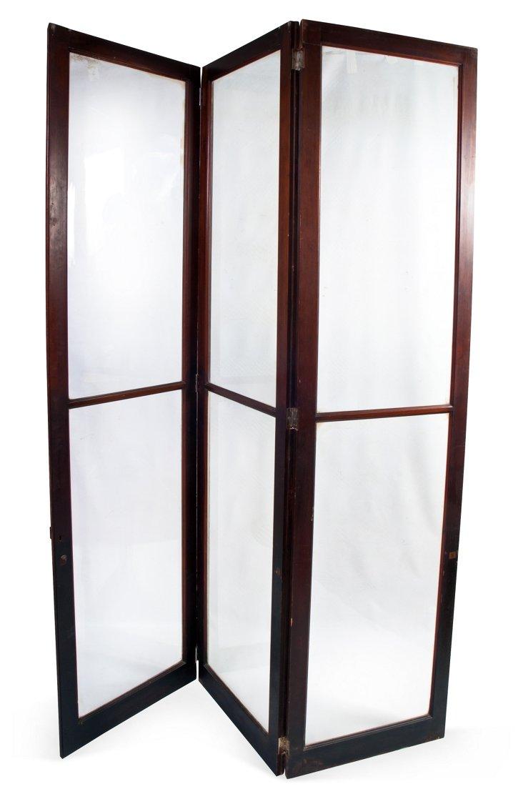 Vintage Glass Library Door Screen