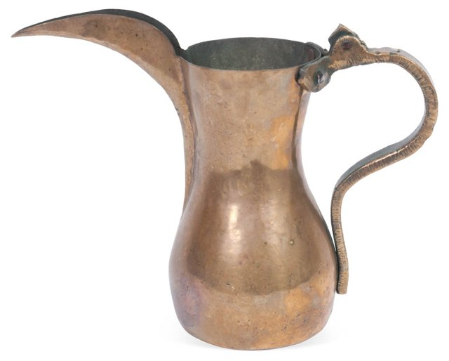 19th-C. Hand-Wrought Copper Pitcher