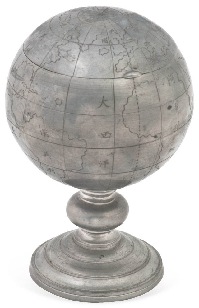 Footed Pewter Globe Box