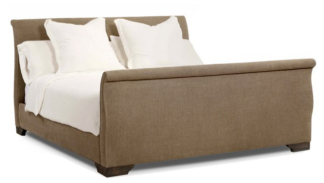 Laurent Burlap Sleigh Bed, Taupe