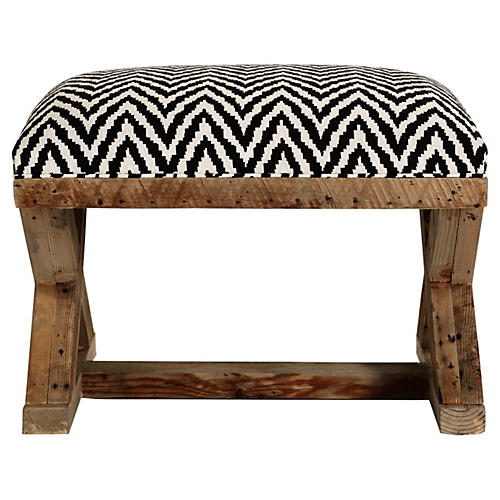 Cass X-Base Ottoman, Black/White Chevron
