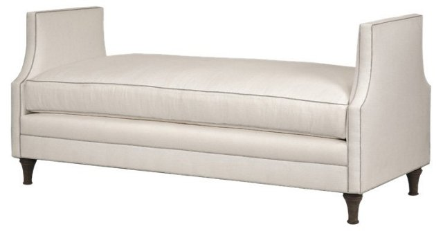 "Dumont 68"" Bench, White Linen"