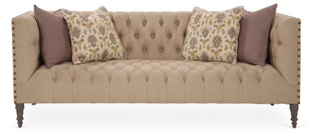 """Pasadena 88"""" Tufted Linen Sofa, Cream"""