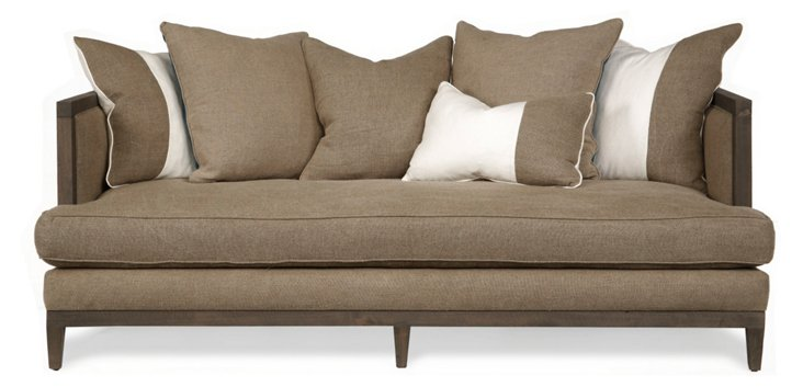 Huck Linen Colorblock Sofa, Taupe/Ivory