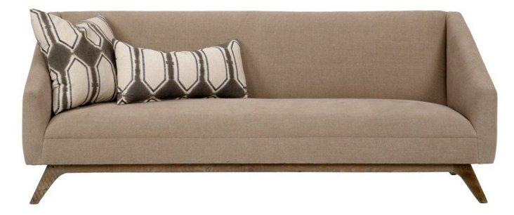 """Anna 89"""" Linen Sofa, Khaki"""