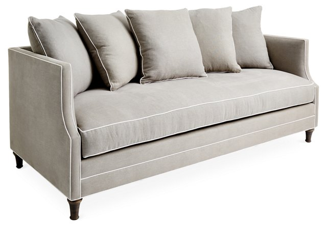 "Dumont 85"" Sofa, Dove/White Linen"