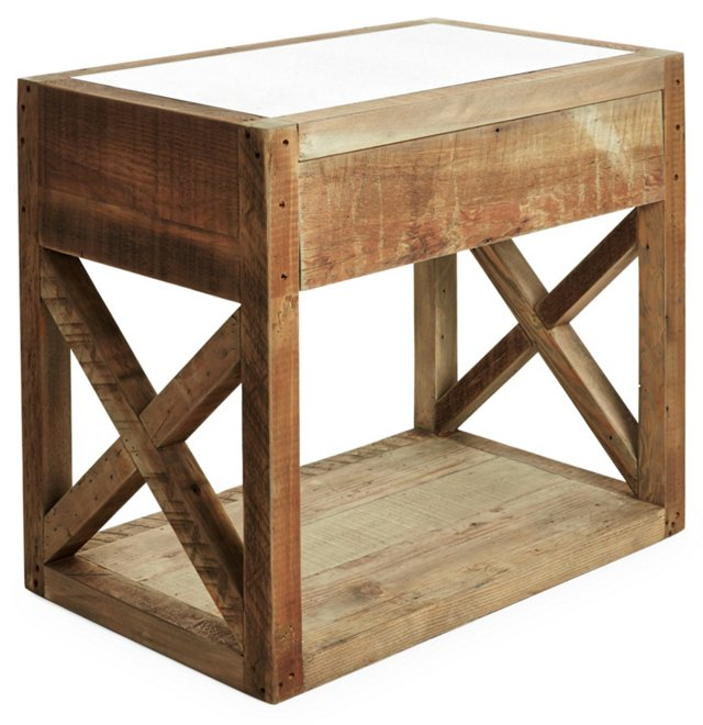 Manning Mirror-Top Side Table, Natural