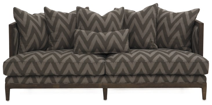"Huck 84"" Linen Sofa, Charcoal Chevron"