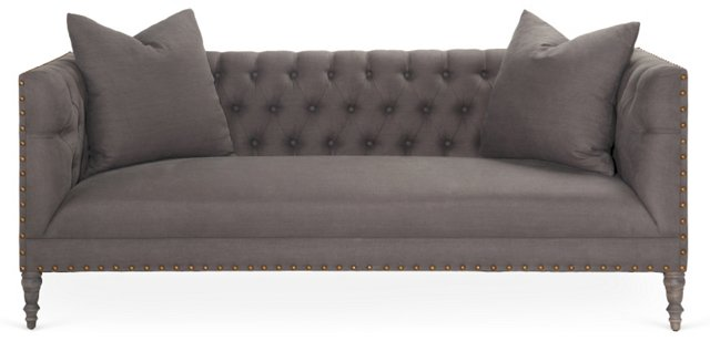 "Napa 86"" Tufted Linen Sofa, Charcoal"