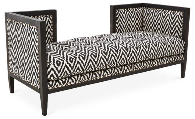 "Dixon 68"" Linen Bench, Black/White"