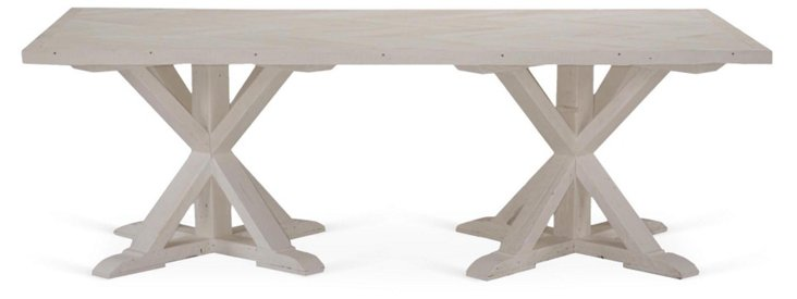 "Shelby 89"" Dining Table, Whitewash"