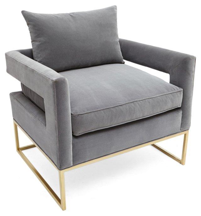 Bevin Accent Chair, Light Gray Velvet