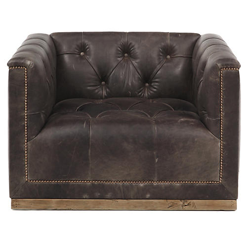 Jackson Swivel Club Chair, Truffle Leather