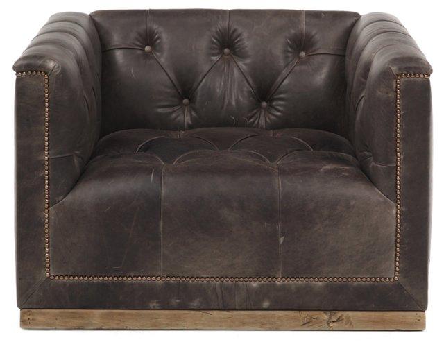 Jackson Swivel Leather Chair, Chocolate