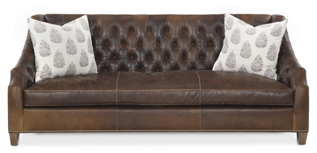 "Luis 91"" Tufted Leather Sofa, Chocolate"